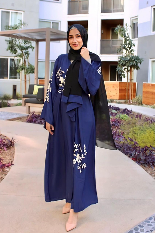 Blue Iris Embroidered Abaya