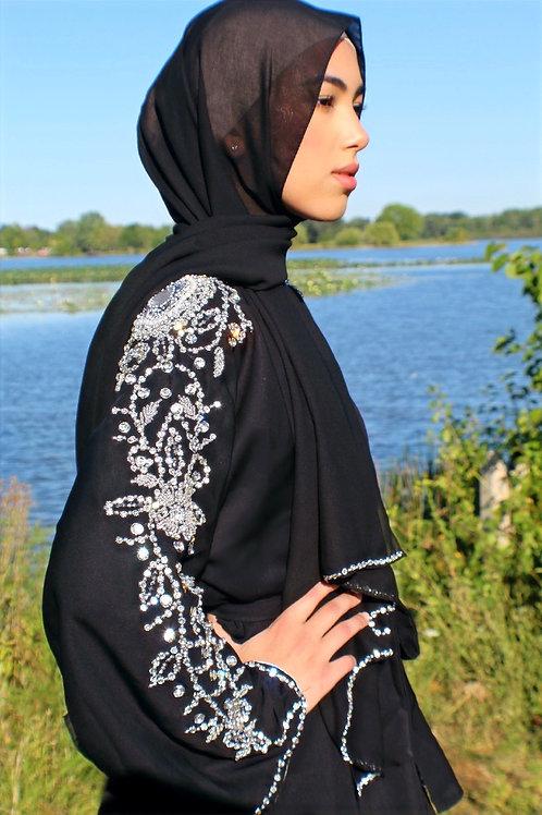 Crystal Camellia Abaya - Black