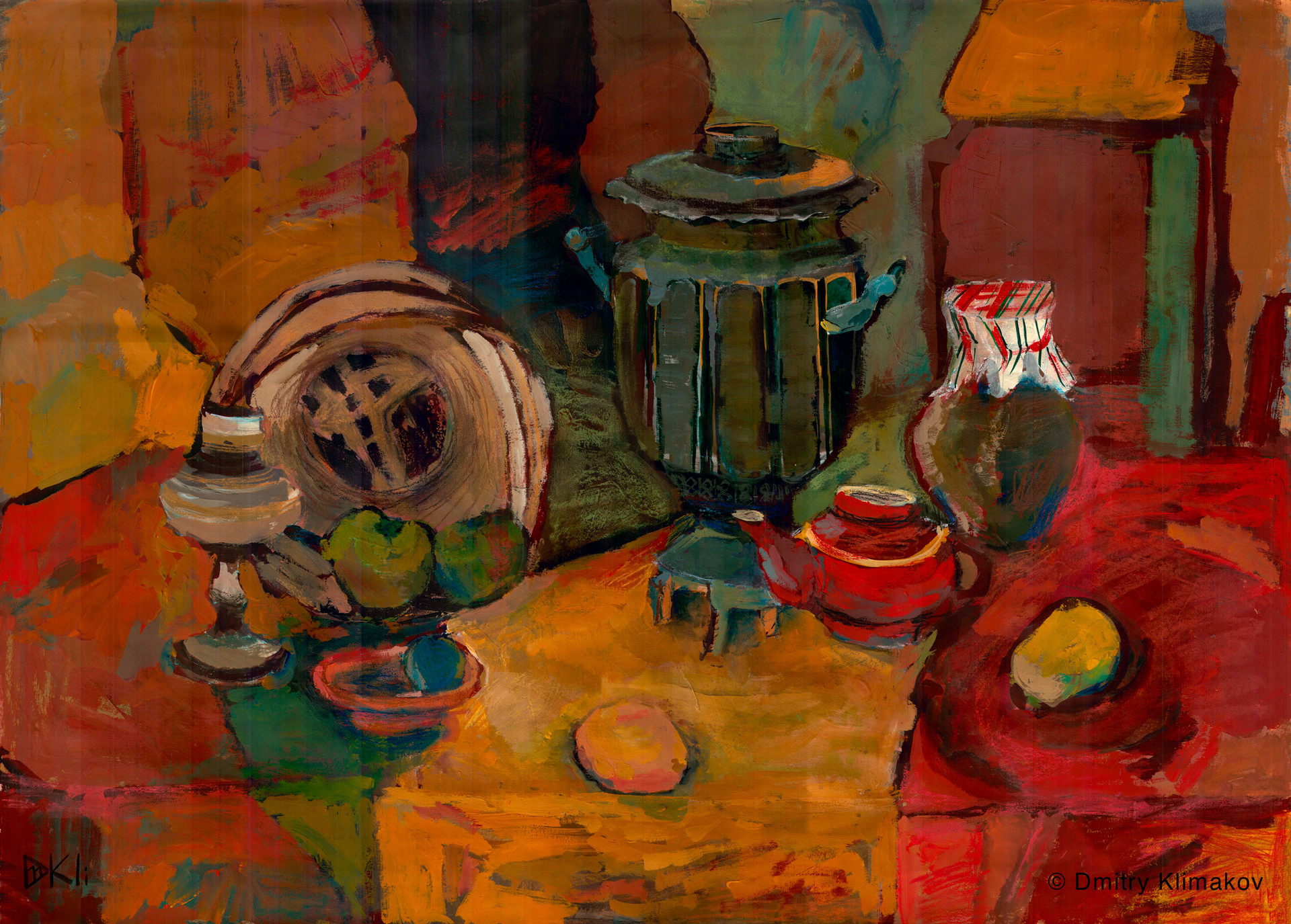 Still-life at my grandma's dacha pt.2 (charcoal, pastel & acrylic paint on paper).