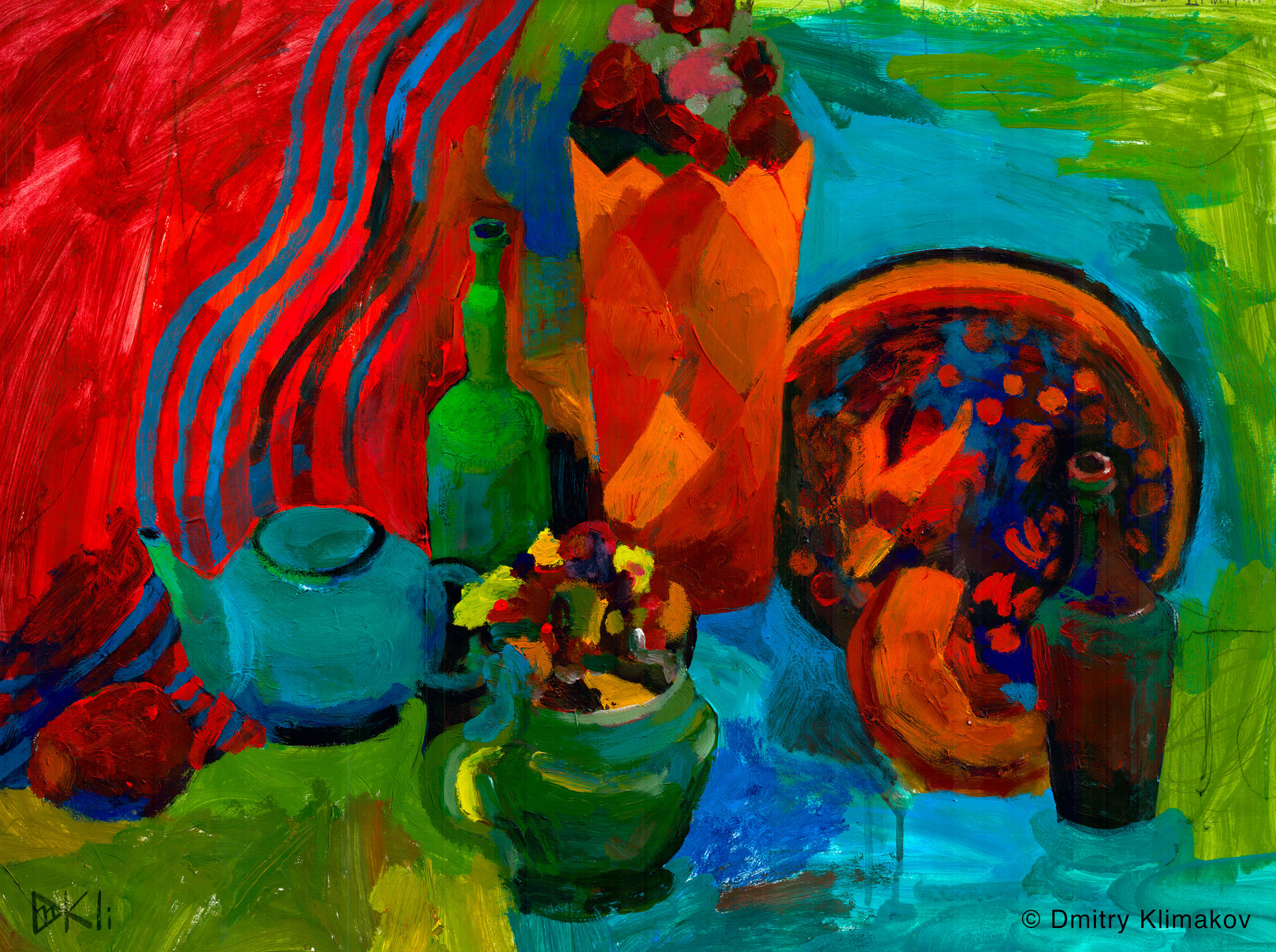 Still-Life in the Kremlin (acrylic paint on paper).