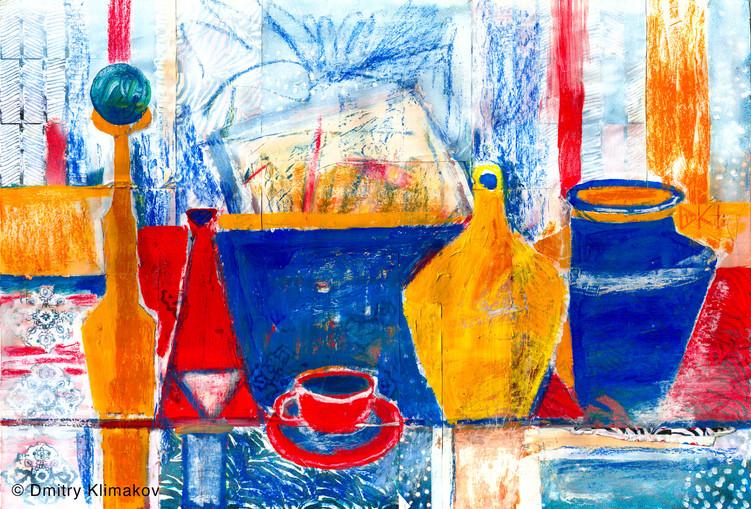 Still-Life in the Turkish Bazaar (pastel, collage & acrylic paint on paper).