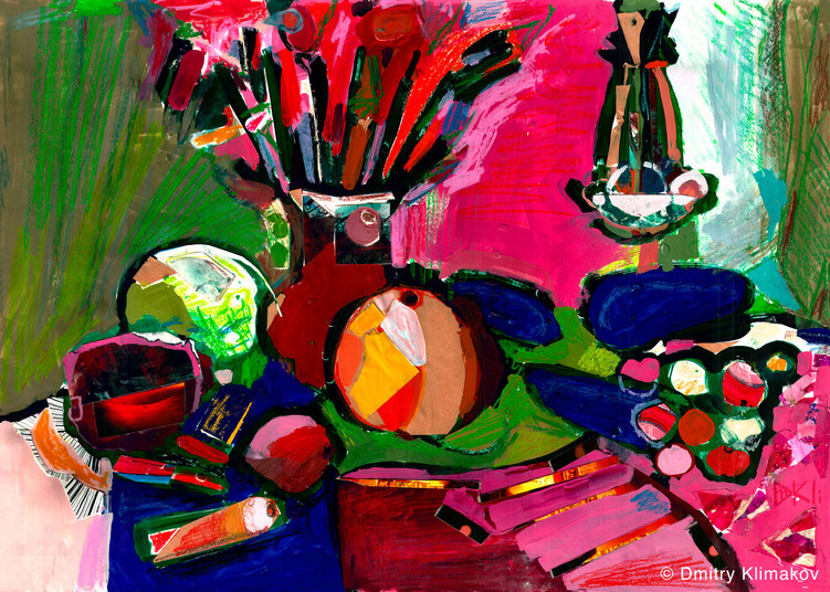 Still-life at my grandma's dacha (charcoal, pastel, collage & acrylic paint on paper).