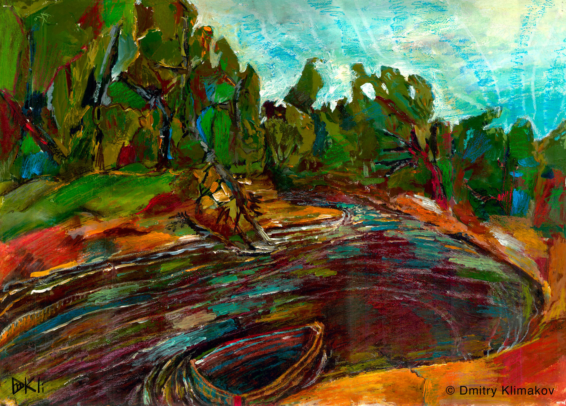 Another day on the PRA river (pastel & acrylic paint on paper).