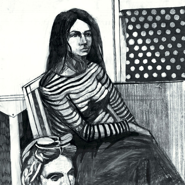 Web-A-Lady-with-black-and-white-stripes-