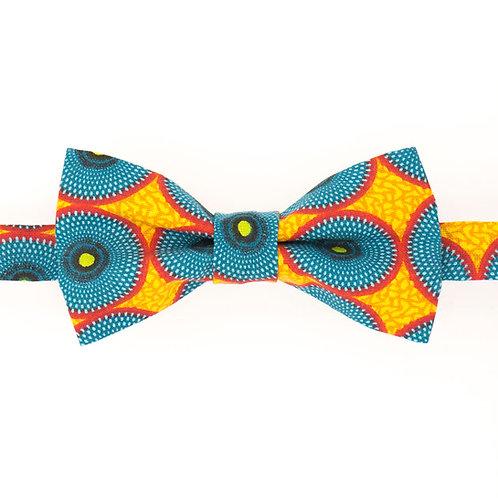 Noeud papillon en wax jaune et bleu