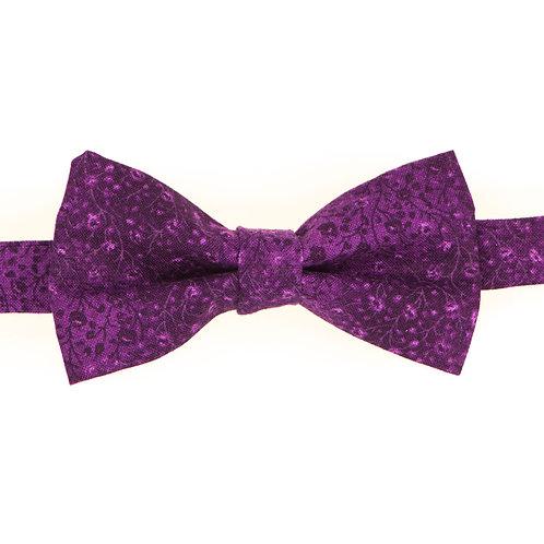 Noeud papillon fleuri motif japonais violet byzantium