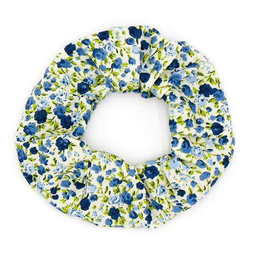Chouchou fleuri motif Liberty bleu
