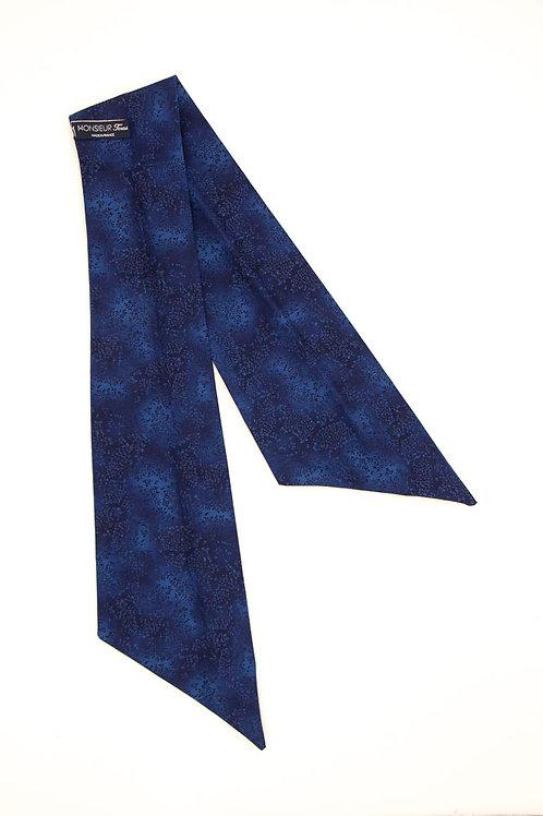 Bandeau fleuri motif japonais bleu nuit