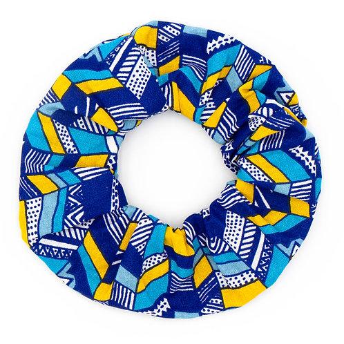 Chouchou fantaisie wax blue waves