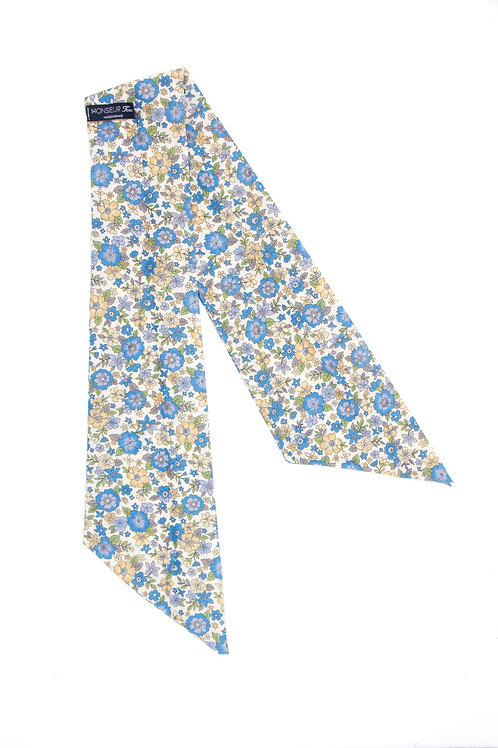 Bandeau fleuri motif Liberty bleu