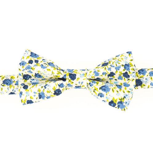 Noeud papillon fleuri motifs Liberty Bleu