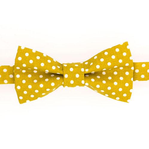 Noeud papillon jaune moutarde à pois