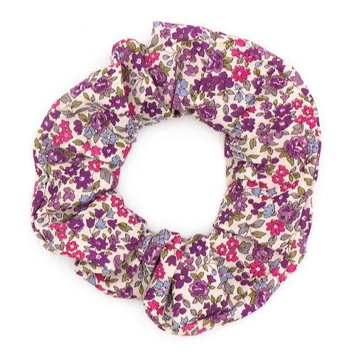 Chouchou fleuri motif Liberty violet