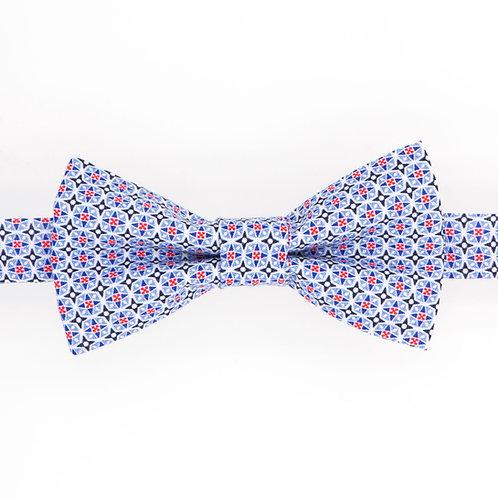Noeud papillon motifs géométriques British bleu clair