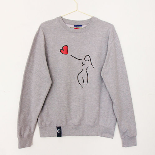 Sweat - Give a Heart - Gris chiné unisexe