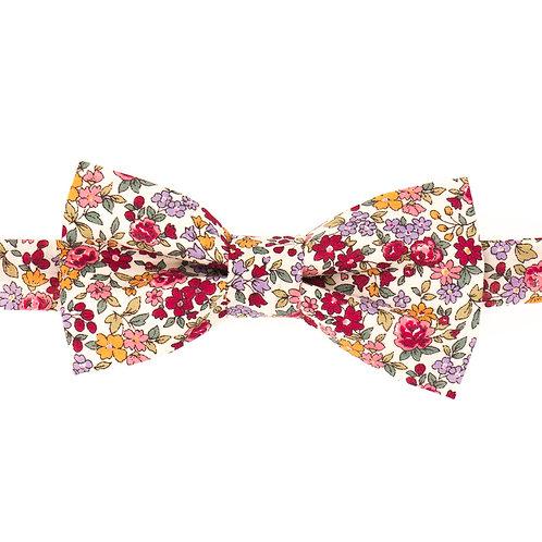 Noeud papillon fleuri motifs Liberty rouge carmin