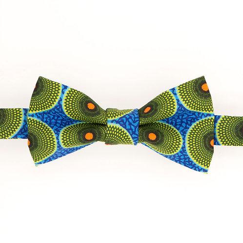 Noeud papillon en wax bleu et vert