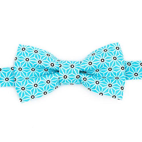 Noeud papillon motifs Géométrique Bleu glacé