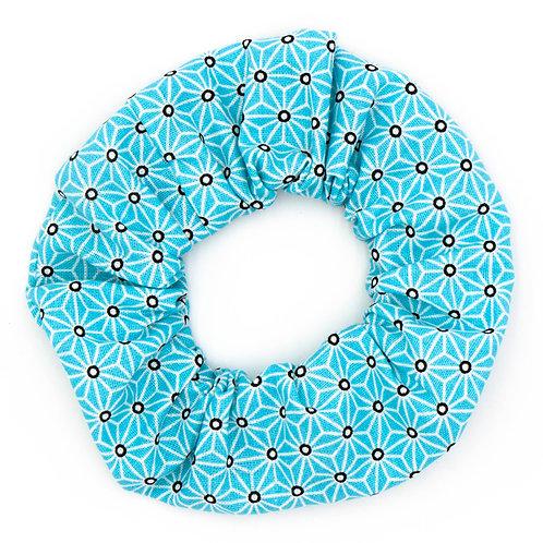 Chouchou Motifs géométriques bleu givre