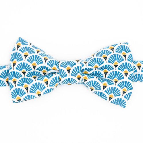 Noeud papillon motifs éventail Bleu
