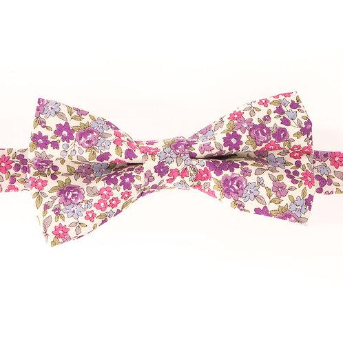 Noeud papillon fleuri motifs Liberty violet