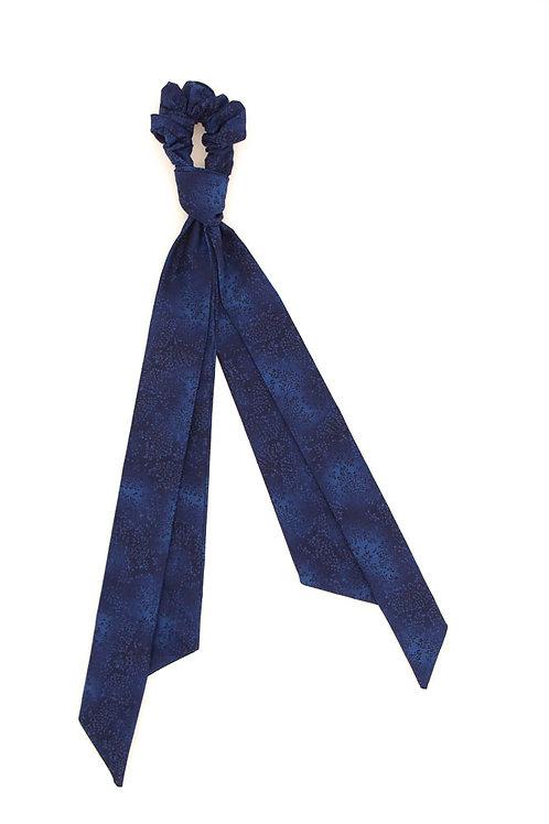 Foulchie fleuri motif japonais bleu nuit