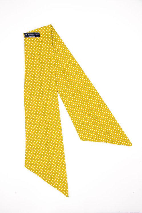 Bandeau jaune moutarde à pois blancs