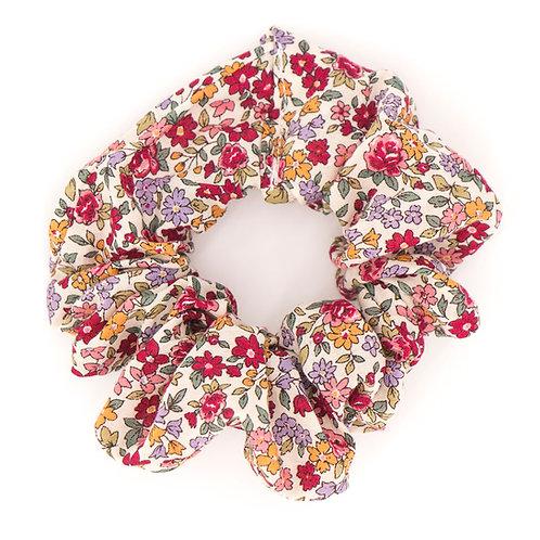 Chouchou fleuri motif Liberty carmin