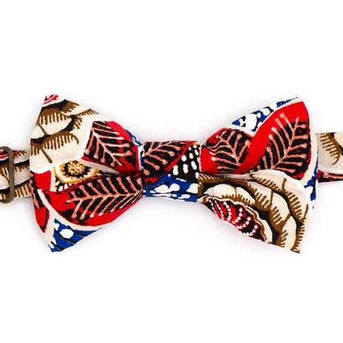 Noeud papillon motifs Fleuri Dahlia Rouge