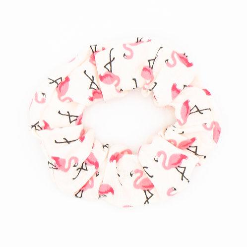 Chouchou fantaisie flamands roses blanc