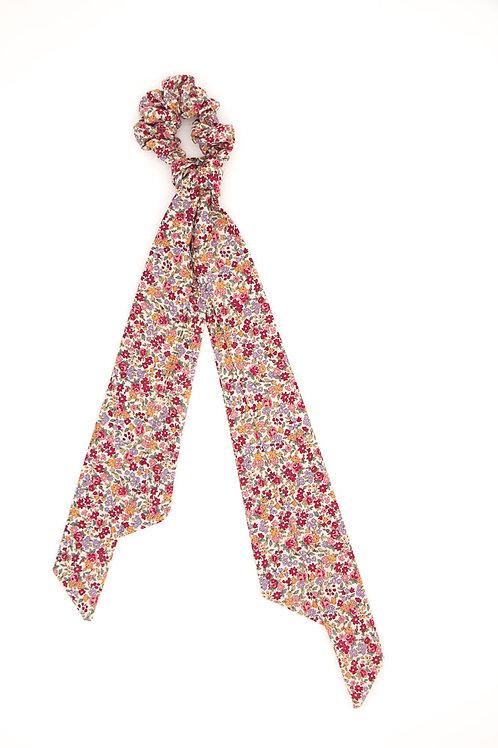 Foulchie fleuri motif Liberty carmin