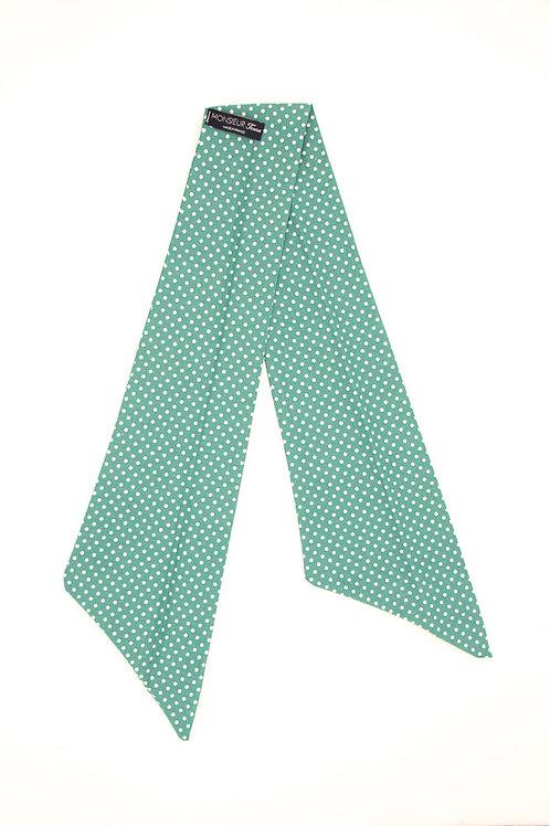 Bandeau vert prasin à pois blancs