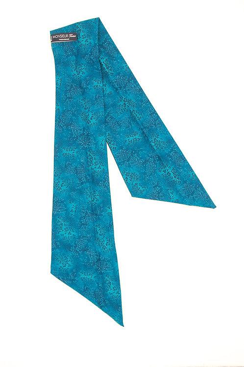 Bandeau fleuri motif japonais bleu bondi