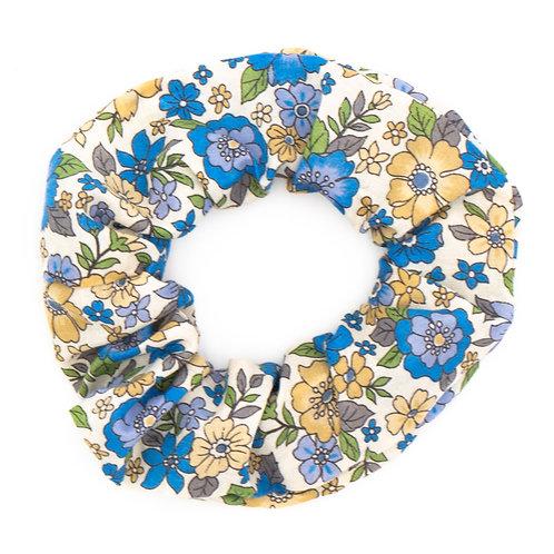 Chouchou fleuri motif Liberty graphique bleu