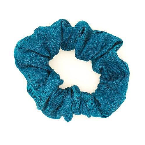Chouchou fleuri motif japonais bleu bondi