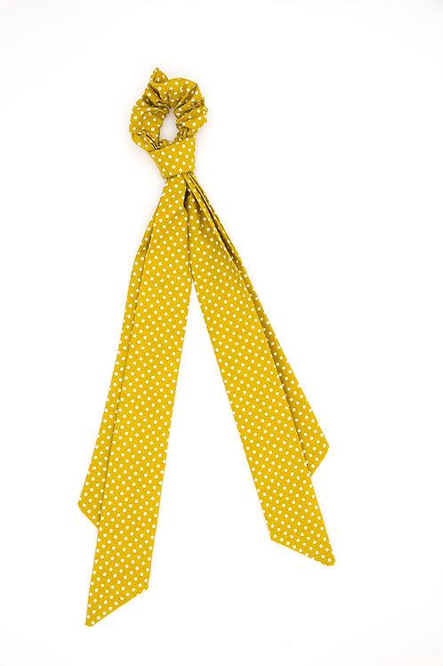Foulchie jaune moutarde à pois blancs