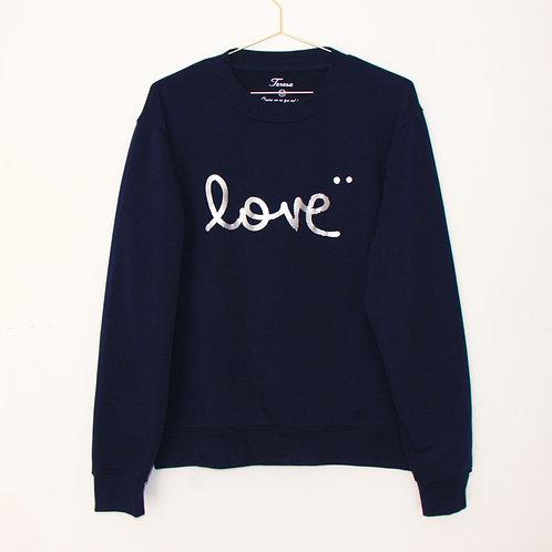 Sweat - LOVE marine/argent unisexe