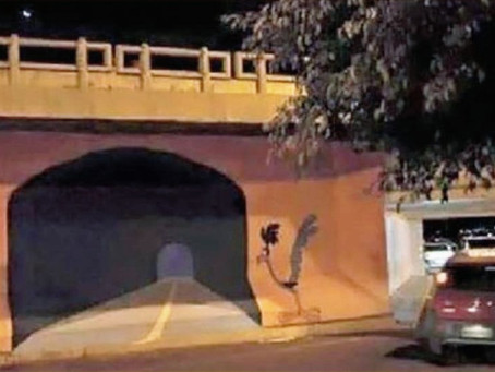 Artist Painted a Tunnel on a Wall and Someone Crashed Into it