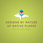 Bright green logo with a picture of the U P and a flower, saying Designs By Nature U P Native Plants
