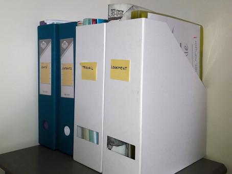 Rangement des papiers à la verticale