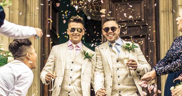 Confetti shot. Lee and Michaels wedding at Walcot Hall, Shropshire. Wedding photographer Birmingham.
