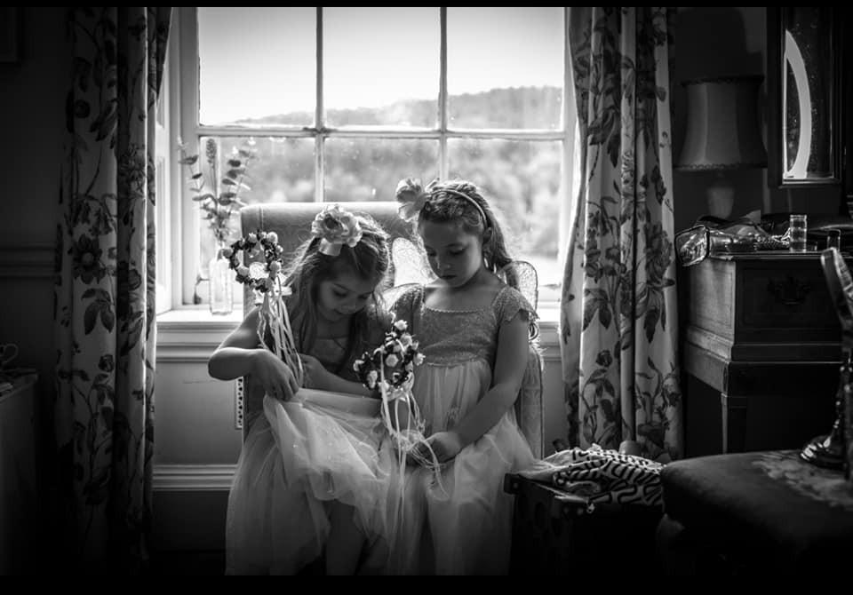 Flower girls getting ready. Wedding photographer Birmingham.