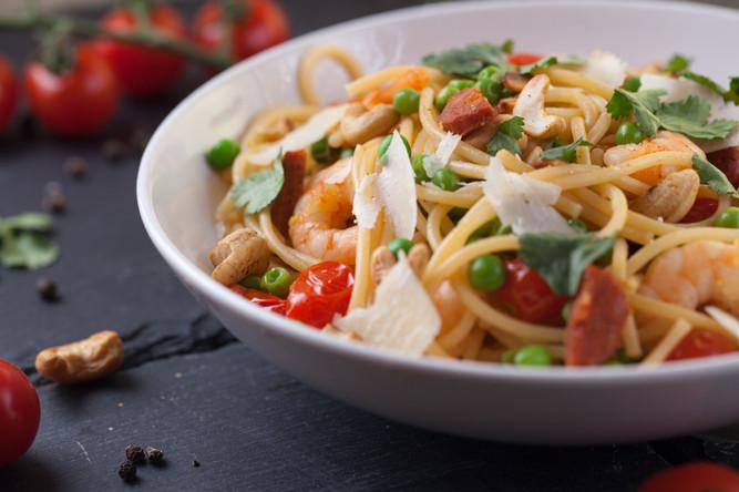 Prawn, Chorizo and Cashew Pasta .