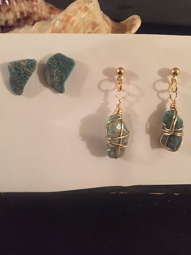 Amazonite ear rings / with a pair of stud ear rings