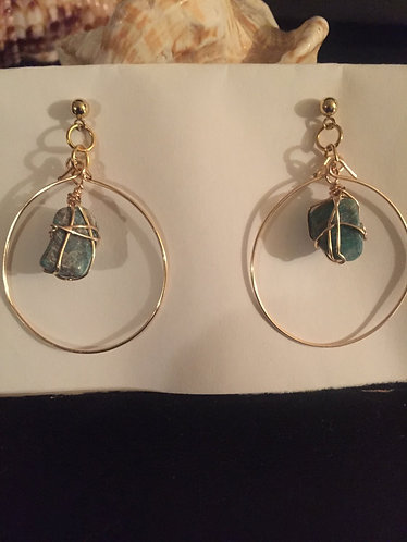 Hooped amazonite stone ear rings