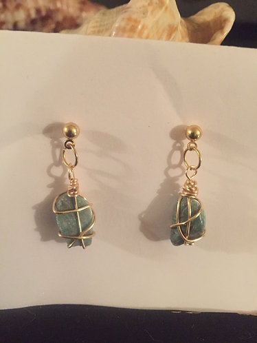 Wire wrapped Amazonite ear rings
