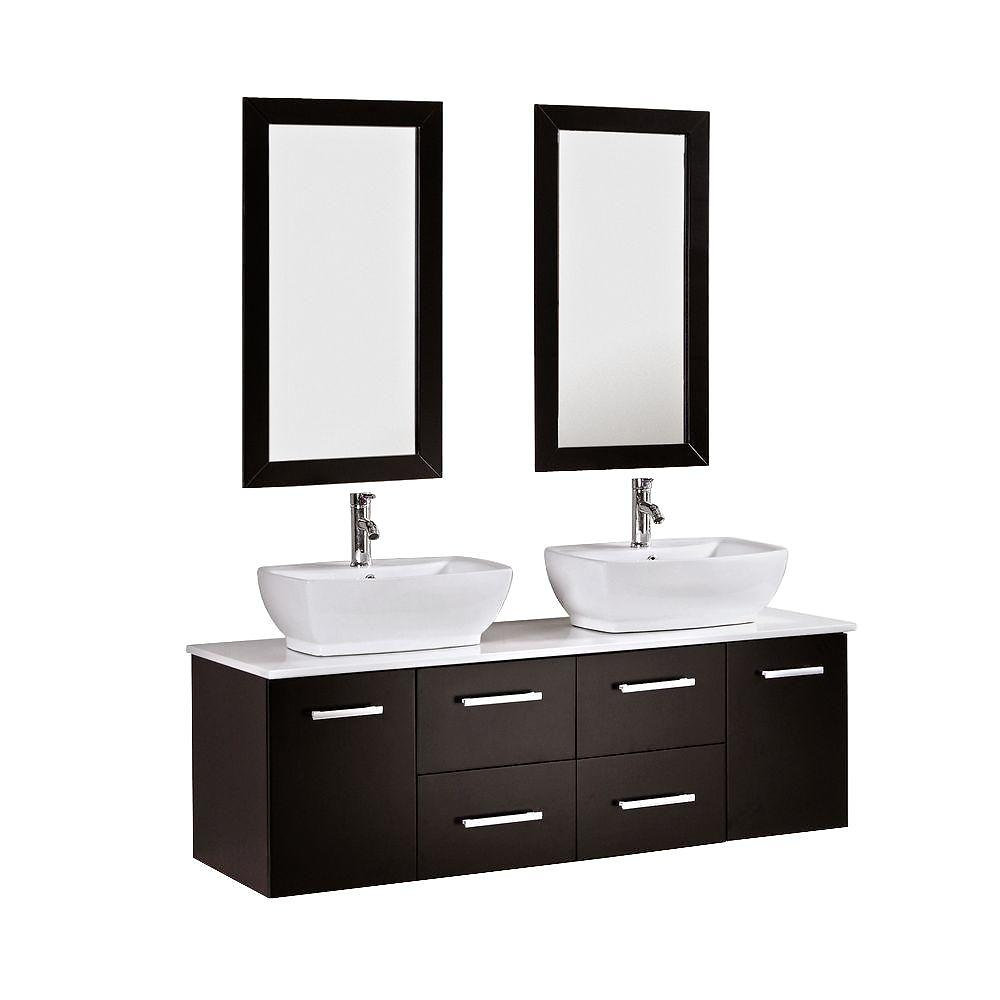 Espresso Color Materials: Rubber Solid Wood, Ceramic Sink Includes: Double  Vanity Cabinet, Two Mirrors With Wood Frame, Two Chrome Faucets,