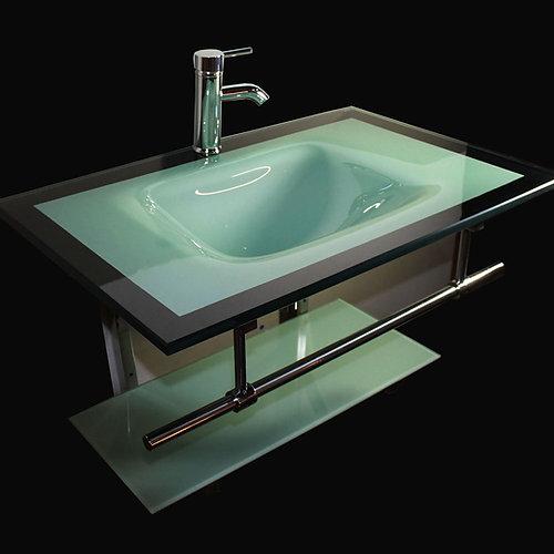 Bathroom Tempered Glass Vessel Sink Vanity Combo