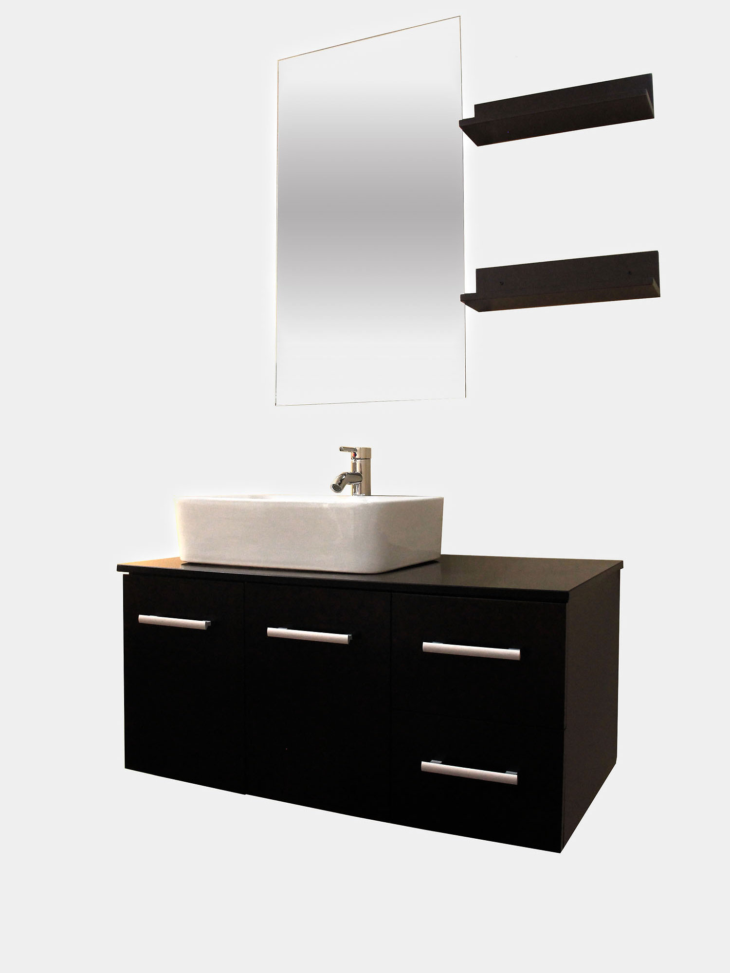 bathroom vanity sink mirror combo. Presented to you is this floating 36 in white cabinet wall mounted bathroom  vanity with mirror and shelves This combo comes a faucet ceramic vessel KOKOLS Single Bathroom Vanity Set With Mirror