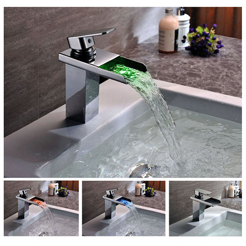 LED Color Changing Vessel Sink Waterfall Faucet   KOKOLS
